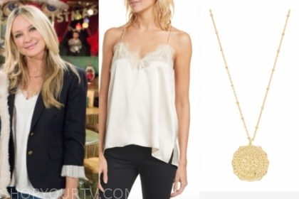 sharon's white lace cami and gold pendant necklace