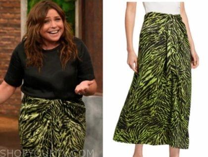 rachael ray's green animal print knot skirt