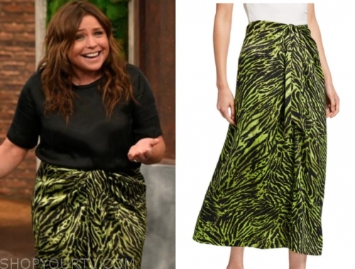 rachael ray's green animal print knot skirt