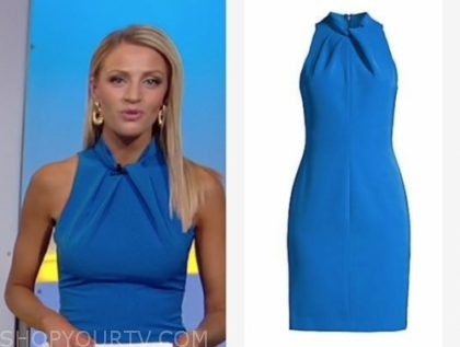 carley shimkus's blue halter sheath dress