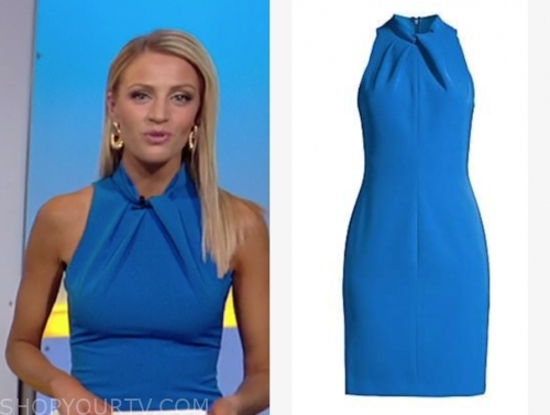 carley shimkus's blue halter sheath dress