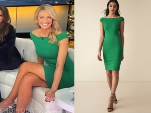 carley shimkus's green knit dress