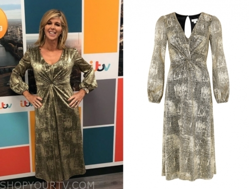 kate garraway's gold metallic twist midi dress