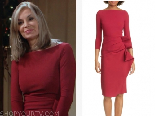 ashley abbott's red boatneck dress