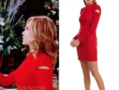 lauren's red cutout shoulder dress