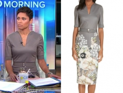 jericka duncan's grey floral belted sheath dress