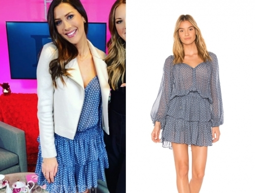 becca kufrin's blue printed tiered dress