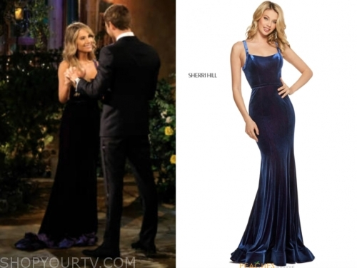 victoria paul's blue velvet gown, the bachelor