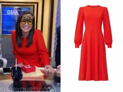 eva pilgrim's red long sleeve dress