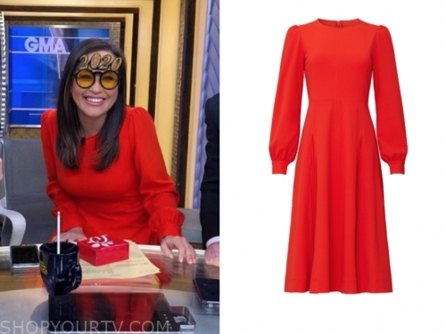 eva pilgrim's red long sleeve dress