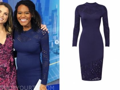 janai norman's navy blue pointelle dress