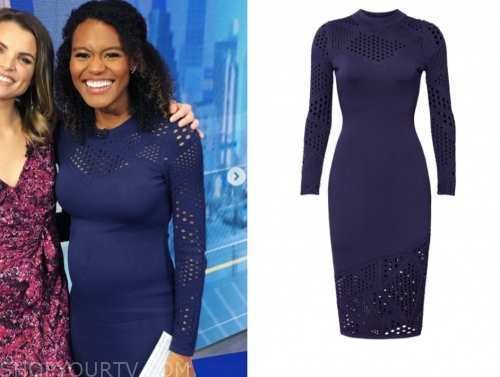 janai norman's navy blue pointelle dress