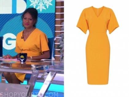 janai norman's orange v-neck sheath dress