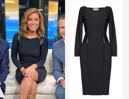 lisa boothe's black leather panel sheath dress