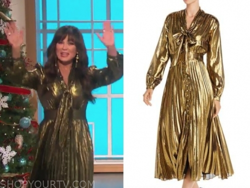 marie osmond's gold metallic tie neck midi dress