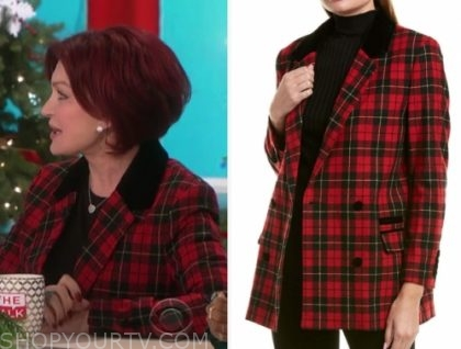 sharon osbourne's red plaid blazer
