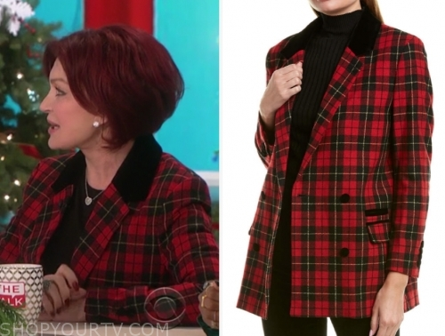 sharon osbourne's red plaid blazer