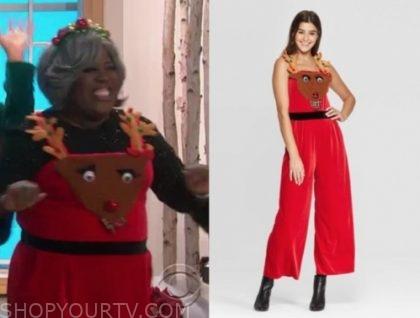 sheryl underwood's red reindeer overalls