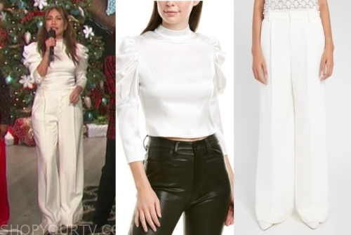 carrie ann inaba's white puff sleeve top and white wide leg pants