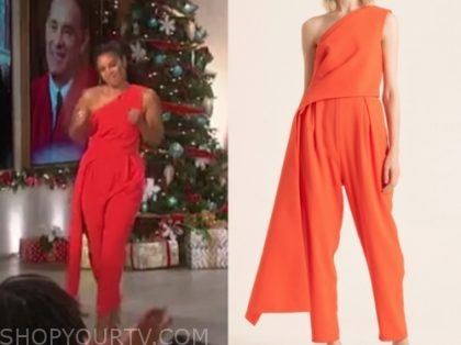 Susan Kelechi Watson's red one-shoulder jumpsuit