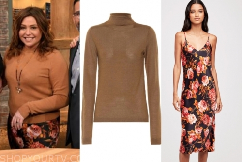 rachael ray's camel turtleneck and floral skirt