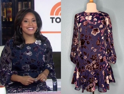 sheinelle jones's purple floral dress
