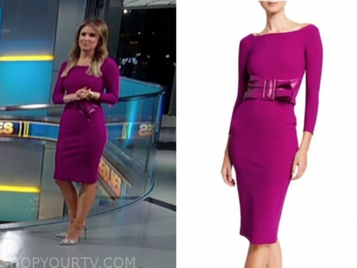 jillian mele's purple leather belted sheath dress