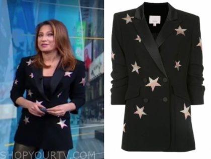 ginger zee's black and pink star blazer