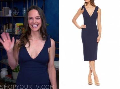 Kelly LeVeque's blue tie shoulder dress