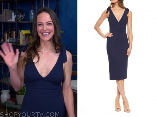 Kelly LeVeque's blue tie shoulder dress
