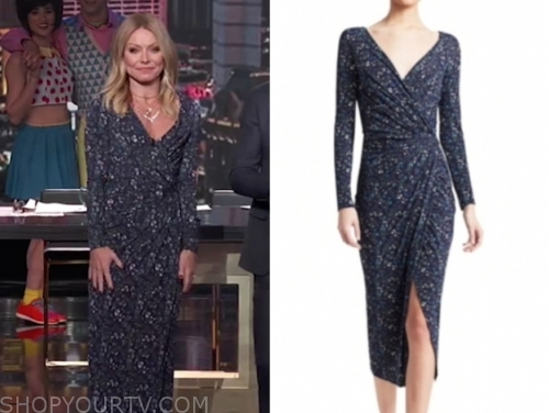 kelly ripa's navy floral midi dress