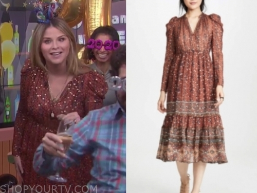 jenna bush hager's rust metallic midi dress