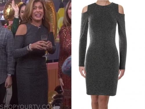 hoda kotb's grey cold-shoulder dress