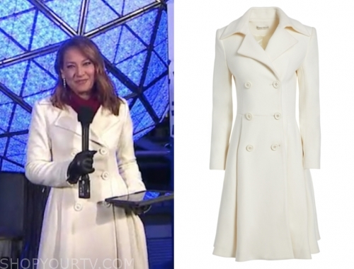 ginger zee's white double breasted coat