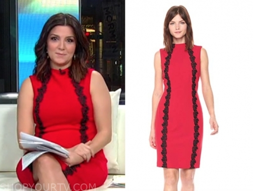rachel campos duffy's red and black lace dress