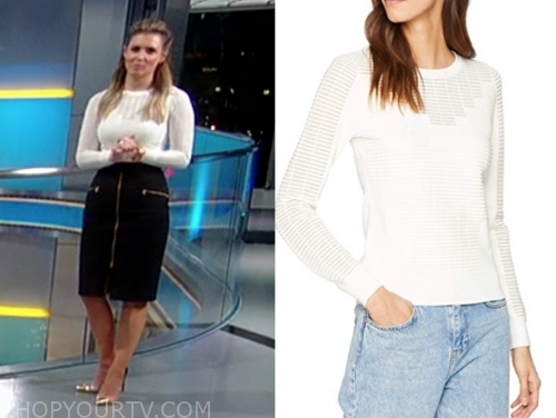 jillian mele's white panel sweater