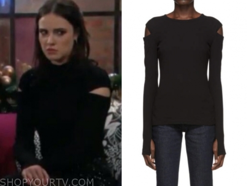 tessa porter's black slash sleeve top