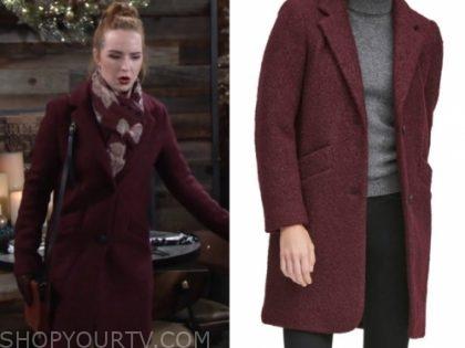 mariah copeland's burgundy boucle coat