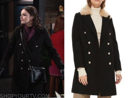 tessa porter's black double breasted coat