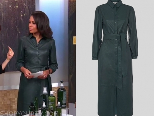 adrienne bankert's green leather midi dress