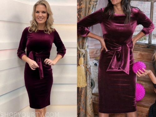 charlotte hawkin's burgundy velvet dress