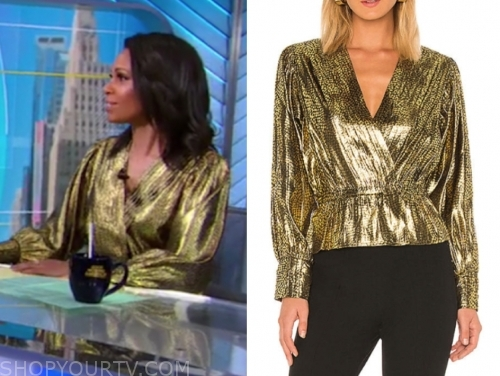 adrienne bankert's gold metallic blouse