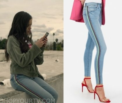 You Season 2 Episode 1 Ellie S Rainbow Side Stripe Jeans
