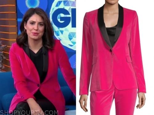 cecilia vega's pink and black velvet blazer
