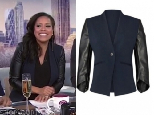 sheinelle jones's leather sleeve blazer