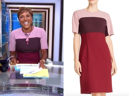robin roberts's red and pink colorblock sheath dress