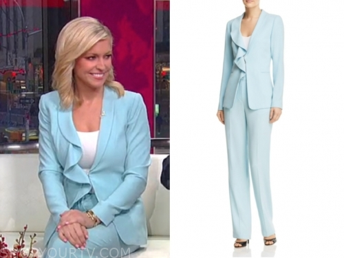 ainsley earhardt's light blue ruffle pant suit