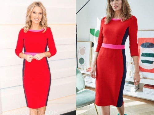 charlotte hawkin's red colorblock sheath dress
