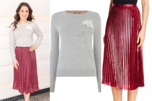 laura tobin's cloud sweater and metallic pleated skirt