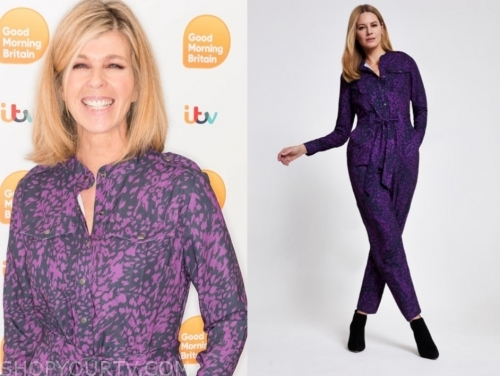 kate garraway's purple animal print jumpsuit